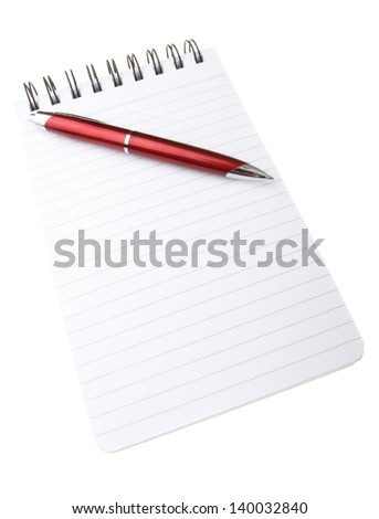 Spiral bound notepad with red ball point pen isolated on white background