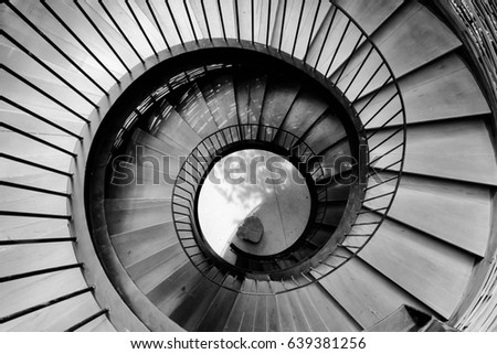 Spiral Circle Staircase Decoration Interior   Black And White Filter  Processing