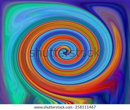 Spiral fractal multicolored galaxies on abstract background