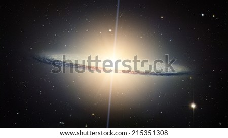 Spiral galaxy in the distant universe. Elements of this image furnished by NASA.  - stock photo