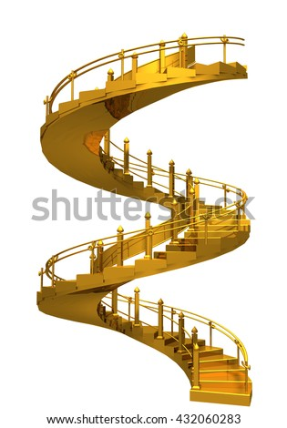 Spiral gold stair case,abstract conceptual 3D rendering composition isolated on white background
