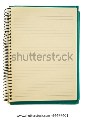 Spiral green notebook's yellow page