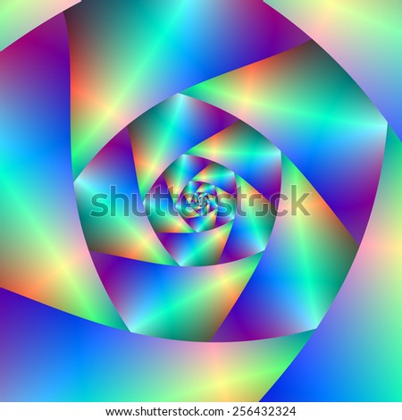 Spiral in Blue and Purple / A digital abstract fractal image with a spiral design in blue, purple. - stock photo