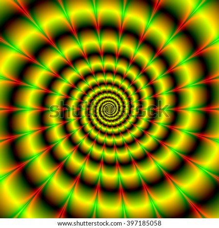 Spiral in Yellow Red and Green / An abstract fractal image with a spiral design in yellow red and green.