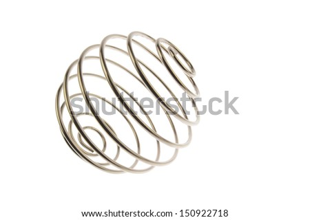 Spiral iron wire ball, side view isolated in white - stock photo
