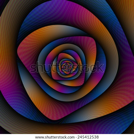 Spiral Labyrinth in Blue Orange and Pink / A digital abstract fractal image with a spiral labyrinth design in blue, pink and orange. - stock photo