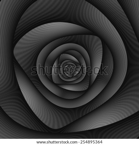 Spiral Labyrinth in Monochrome / A digital abstract fractal image with a spiral labyrinth design in black and white. - stock photo