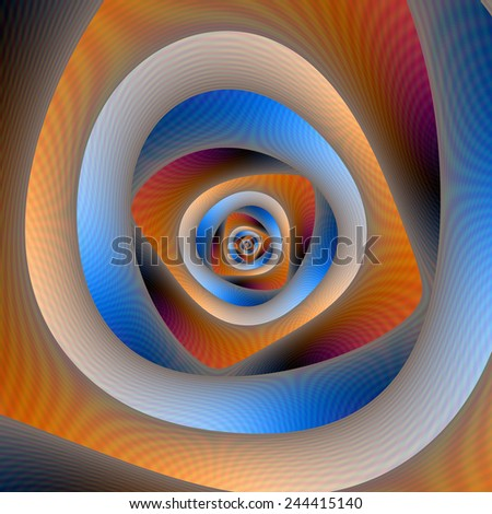 Spiral Labyrinth in Orange and Blue / A digital abstract image with a spiral labyrinth design in orange and blue.