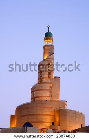 Spiral minaret of Islamic center in Doha Qatar - stock photo