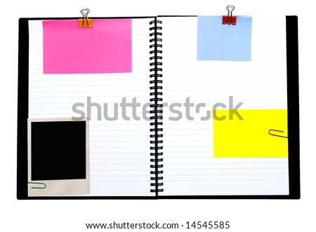 spiral notebook and empty notes isolated on white