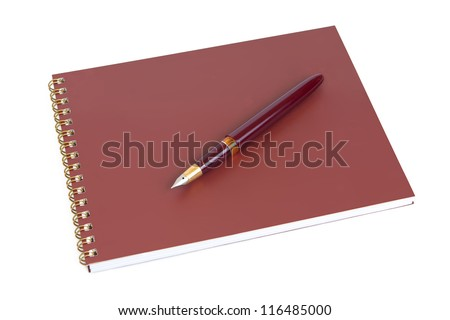 Spiral notebook and pen on a white background