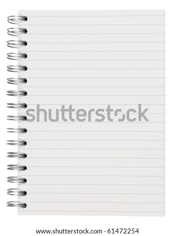 Spiral notebook,isolated on white with clipping path - stock photo