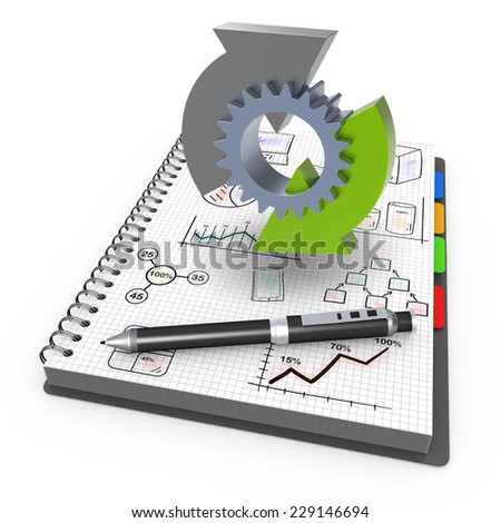 Spiral notebook with process business  - stock photo