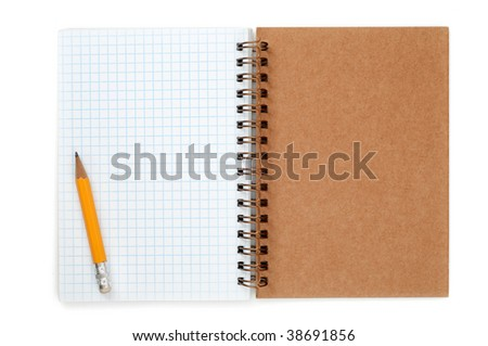 Spiral notepad and pencil isolated on a white
