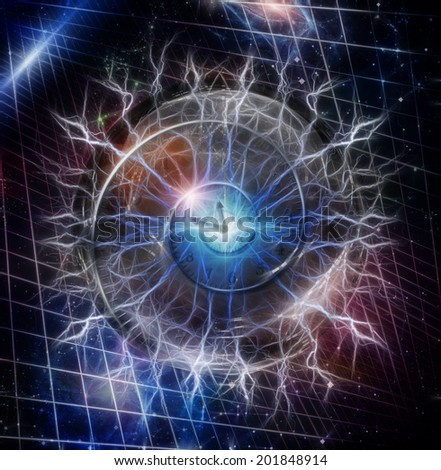 Spiral of time enclosed in crystal sphere Elements of this image furnished by NASA - stock photo
