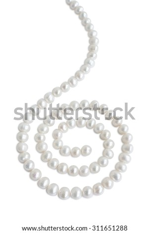 Spiral ornament figure made of pale pearl necklace with shadow, isolated on white background