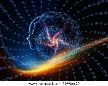 Spiral Profile series. Arrangement of human profiles and fractal elements on the subject of math, science and reason. - stock photo