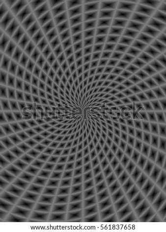 Spiral Rays in Monochrome / A monochrome digital image with a spiral ray design in black and white.