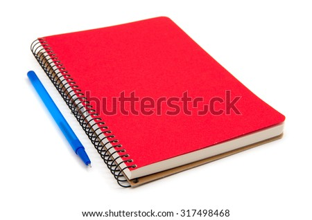 spiral red notebook and pen isolated on white