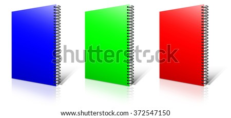 Spiral RGB binder. Note pad with white - stock photo