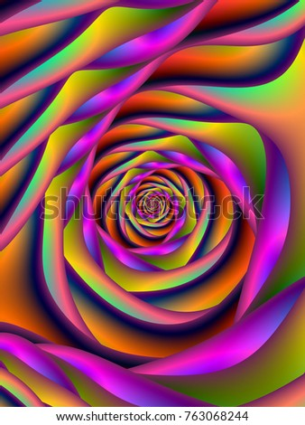 Spiral Six / An abstract fractal image with a spiral design in orange, pink, violet, blue and turquoise.