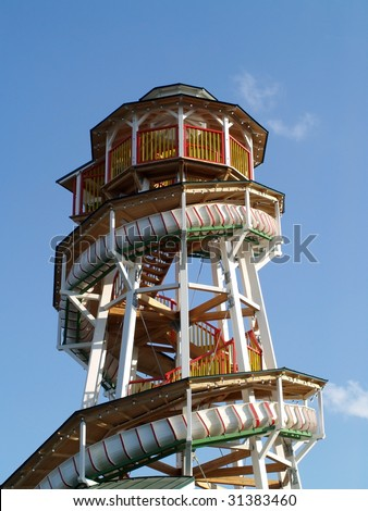 spiral slide amusement park ride - stock photo