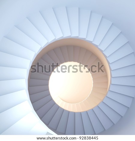 Spiral stair. 3d render of abstract interior - stock photo
