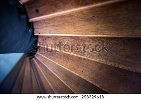 Spiral stair from house interior - stock photo