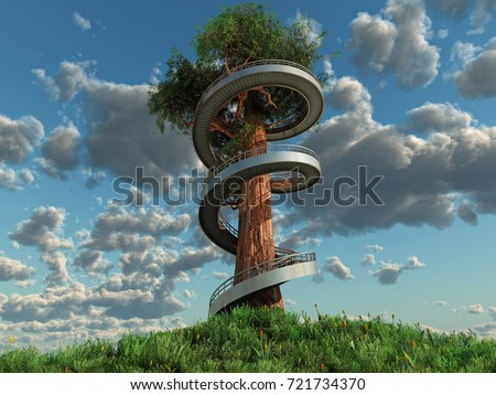 Spiral Staircase Around A Tall Old Tree, 3d Illustration