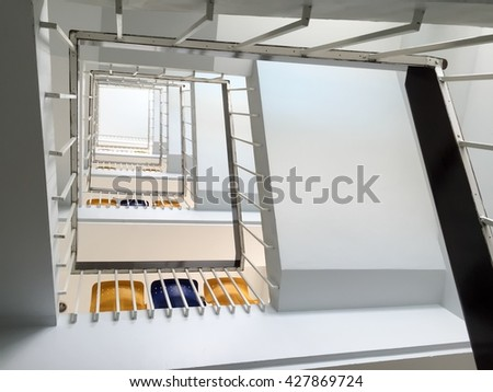 Staircase stock photos royalty free images vectors for Square spiral staircase plans hall