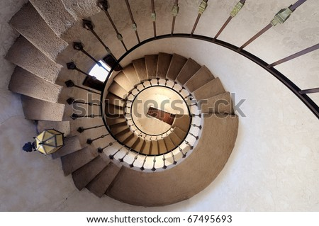 Spiral staircase at Scotty's Castle in Death Valley National Park, California