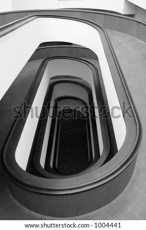 Spiral Staircase Black and White - stock photo