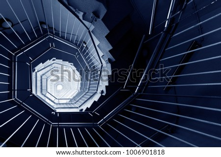 Spiral staircase in dark