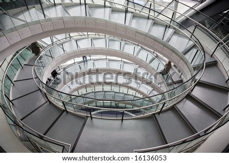 Spiral Staircase in Office - stock photo