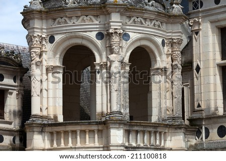 Spiral staircase in the Chambord castle, Loire Valley, France - stock photo