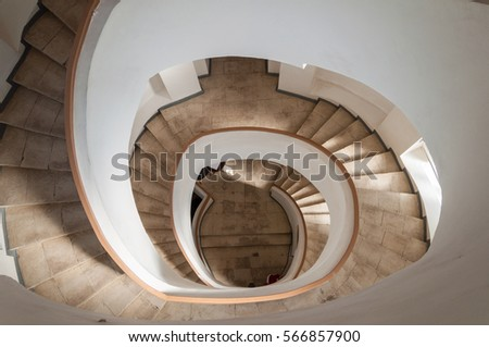 Spiral Staircase inside of the Water tower in Vladimir. Golden Ring of Russia