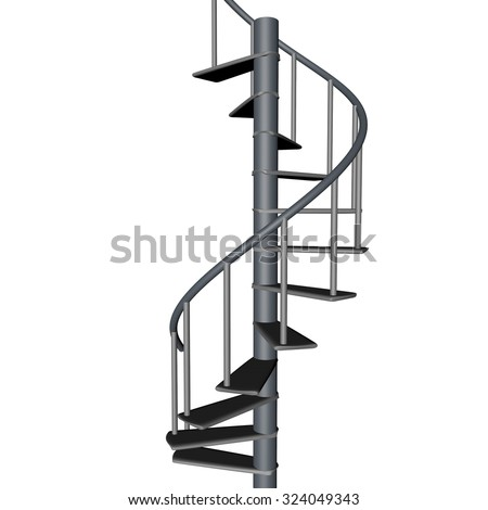 Spiral staircase, isolated over White, 3d render, square image