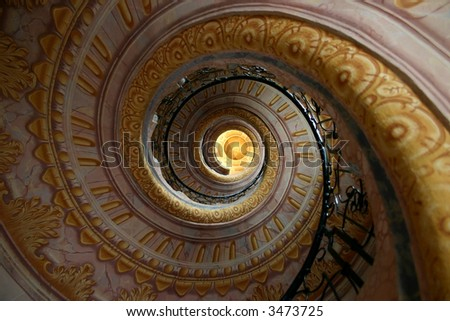 Spiral staircase with architectural details - stock photo