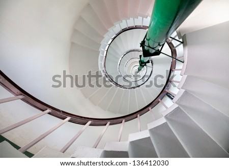 Spiral stairs inside of lighthouse on Kovalam beach, Kerala, India - stock photo
