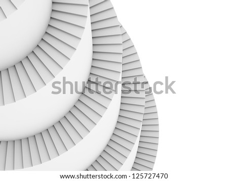 Spiral stairs rendered - stock photo