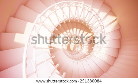 Spiral stairs with rails in sun light sepia color abstract 3d interior - stock photo