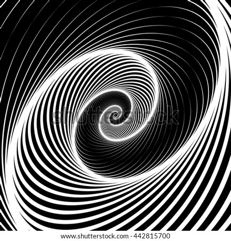 Spiral, volute background - Rotating radiating, concentric ellipse, oval shapes. Black and white pattern. - stock photo