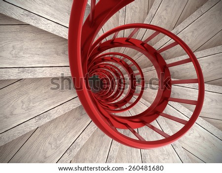 Spiral wood stairs with red painted balustrade - stock photo