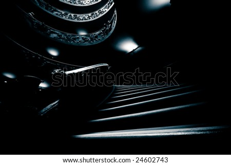 Spiraling Stairs at the Vatican Museum - stock photo