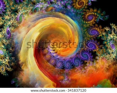 Spirals Are Forever series. Composition of spiral fractal suitable as a backdrop for the projects on science, technology and design