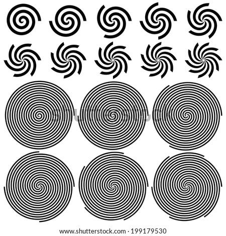 Spirals Pattern Set. Rasterized Version - stock photo