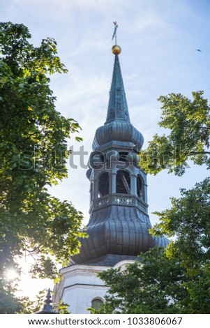 Spire of Saint Mary Cathedral is a church built 14th century, located on Toompea Hill in Tallinn, Estonia