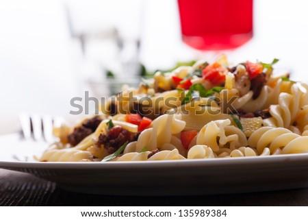 spirelli and sauce bolognaise - stock photo