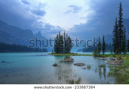 Spirit Island in Jasper National Park in the Canadian Rockies - stock photo