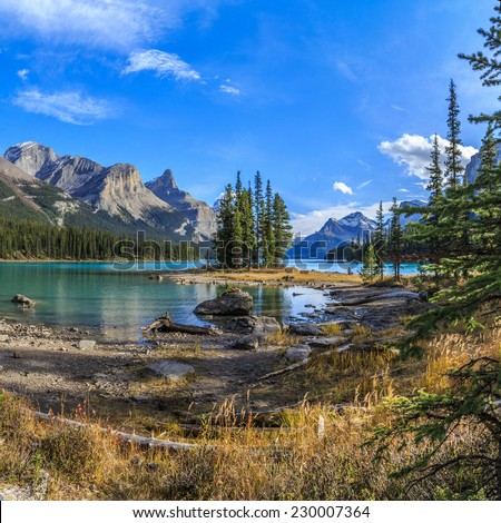 Spirit Island in Maligne Lake, Jasper National Park, Alberta, Canada - stock photo